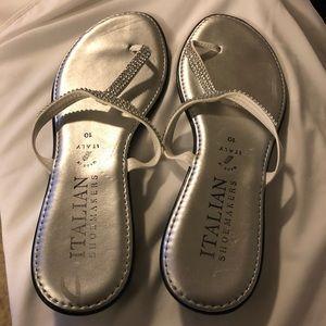 Italian Thong Sandals with Rhinestones